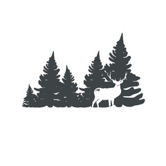 Christmas tree with deer vector illustration.