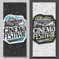 Vector tickets for Cinema Festival, leaflets with professional film equipment and speaking trumpet, original lettering for words cinema festival, illustration of movie symbols on abstract background.