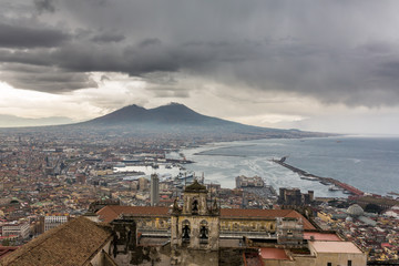 Fotobehang Napels Panorama of Naples, view of the port in the Gulf of Naples and Mount Vesuvius. The province of Campania. Italy. Cloudy day
