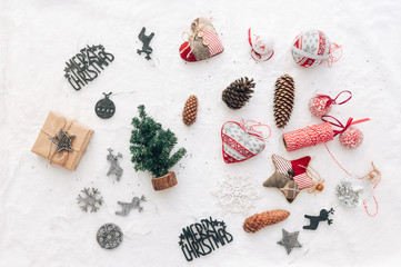 Christmas  decorations on white background. Top view, flat lay