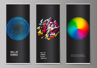 The vector illustration of the editable layout of roll up banner stands, vertical flyers, flags design business templates. Abstract colorful geometric backgrounds in minimalistic design to choose from