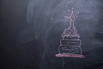 draw a birthday cake picture by chalk pastels on a school blackboard.