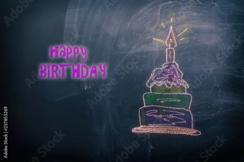 draw a birthday cake picture by chalk pastels on a school
