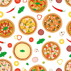 Pizza seamless pattern. Pizza and ingredients isolated on white background. Vectorillustration, flat style.