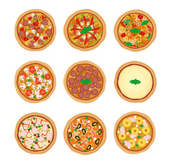 Pizza set icons isolated on white background. Pizza with different ingredients. Vector illustration. Flat design.
