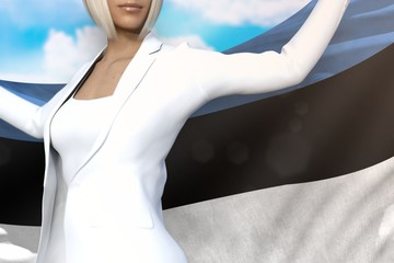 beautiful business woman holds Estonia flag in hands behind her back on the blue sky background - flag concept 3d illustration