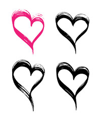 Vector hand-painted ink illustration with hearts. Doodles. Abstract background.
