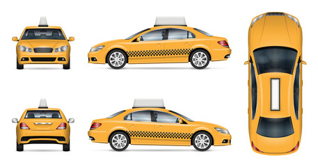 Taxi car vector mockup on white background for vehicle branding, corporate identity and advertisement. View from side, front, back, and top, easy editing and recolor