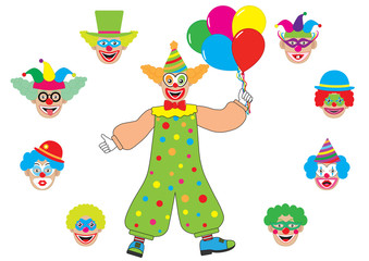 Select head to clown. Set heads of clown. Vector illustration.