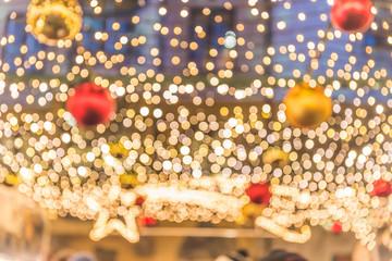 Blurred Christmas lights, festive background image