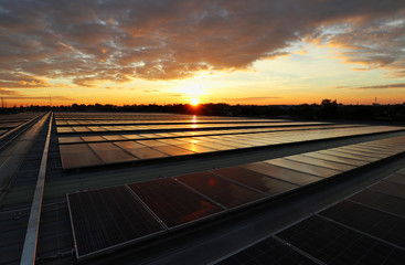 Solar PV Rooftop Sunrise Beautiful Sky