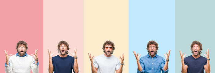 Collage of young casual man over colorful stripes isolated background crazy and mad shouting and yelling with aggressive expression and arms raised. Frustration concept.