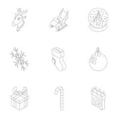 Christmas icons set. Outline illustration of 9 christmas vector icons for web