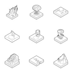 Natural disaster icons set. Outline illustration of 9 natural disaster vector icons for web