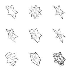 Geometric figure star icons set. Outline illustration of 9 geometric figure star vector icons for web