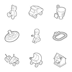 Toys icons set. Outline illustration of 9 toys vector icons for web