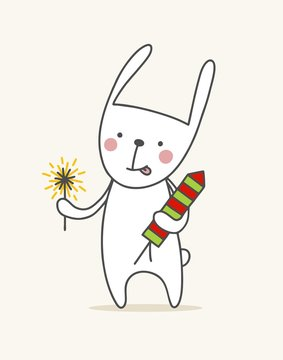 Cute bunny with fireworks. Flat vector animal illustration