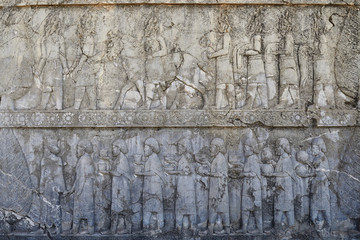 Iran, The beautiful reliefs in the ruins of Ancient Persepolis Complex of Near Eastern civilisation with persian architecture