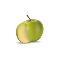 realistic green apple and slice isolated on white background. vector illustrations
