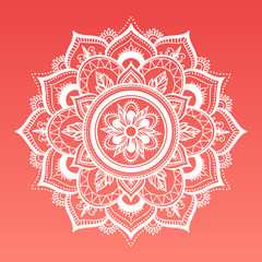Round dreamy gradient mandala on living coral background. Vector boho white mandala. Mandala with floral patterns. Yoga template