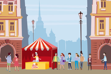 Trade tent, ice cream counter, seller under a canopy, outdoor composition, city, characters selling ice cream, drinks, corn, fast food, sweets. People, sellers and buyers. Urban scene. Vector