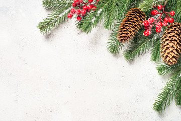 Christmas background flatlay with fir tree brunch and red decora