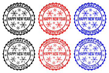 Happy new year, Christmas Post, North Pole, rubber stamp, sticker, vector, black, red, blue,