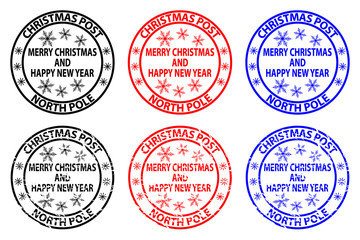 Merry Christmas and happy new year, Christmas Post, North Pole, rubber stamp, sticker, vector, black, red, blue,