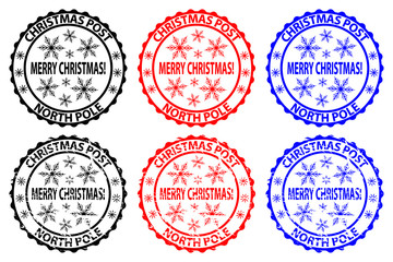 Merry Christmas, Christmas Post, North Pole, rubber stamp, sticker, vector, black, red, blue,