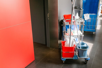 Cleaning equipment cart in hotel