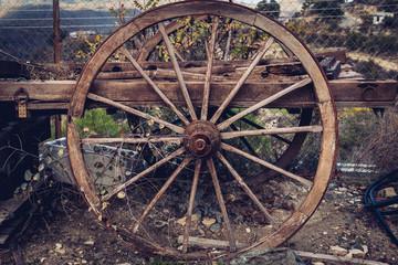 An old wooden cart.
