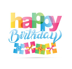 Happy birthday lettering color banner with present gift
