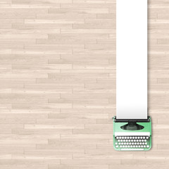 3d illustration rendering of green typewriter with blank paper frame on wooden parquet background