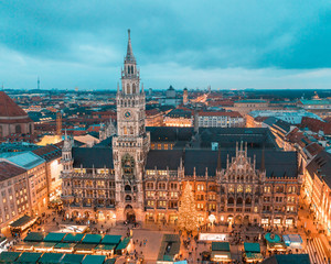 Munich Rathaus with Christmas tree and decorations