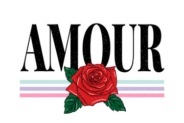 slogan Amour phrase graphic vector Print Fashion lettering calligraphy