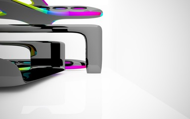 Abstract dynamic interior with black smooth objects and  colored glass lines. 3D illustration and rendering