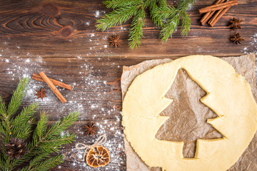 Christmas baking of ginger cookies on dark wooden background with fir branches.