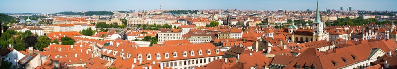 Panorama of the rooftops of Prague. Prague skyline rooftop view with historical buildings panorama in Czech Republic.