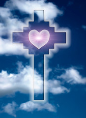 Wall Mural - Christian Catholic cross with heart like religion and love  love