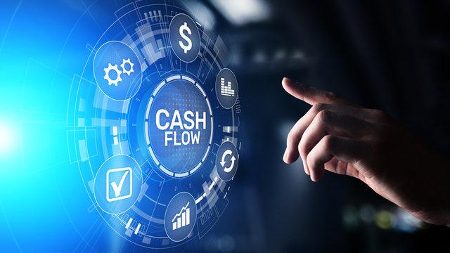 Cash flow button on virtual screen.Business Tehcnology concept.