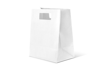 White shopping paper bag isolated on white background