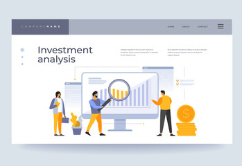 Landing page template.Investment analysis concept. Analysis of financial data. People on team are looking at growing graphs of cash investments. Vector flat illustration.