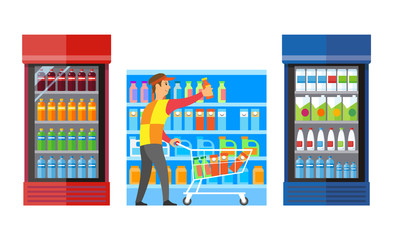 Supermarket Shop with Fridges and Drinks Vector