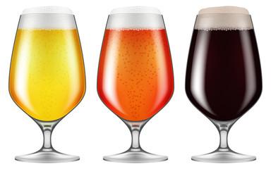 Elegant craft beer glasses. Vector illustration.