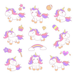 set of little unicorn sticker illustration with smooth color vector eps 10