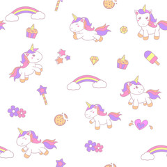 little unicorn illustration seamless pattern background with smooth color vector eps 10