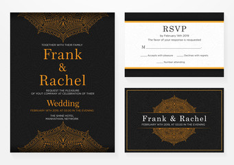 set of wedding invitation template design with elegant style and floral ornament pattern vector eps 10