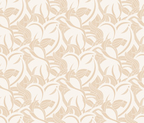 Seamless pattern background with interesting curves on beige  for wallpaper