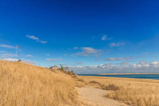 Coastline with sandy beach at Cape Cod in winter