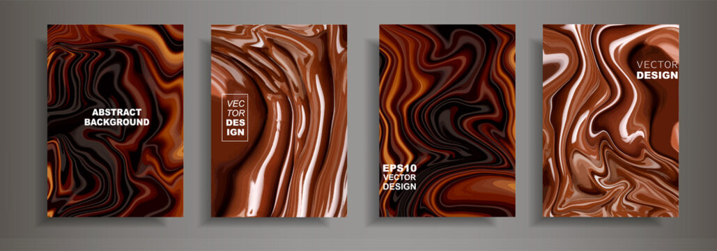 Modern design A4.Abstract chocolate coffee texture bright liquid colors.Coating with acrylic paints. Design presentations, printing, flyers, business cards, menu, poster, websites, packaging,cover